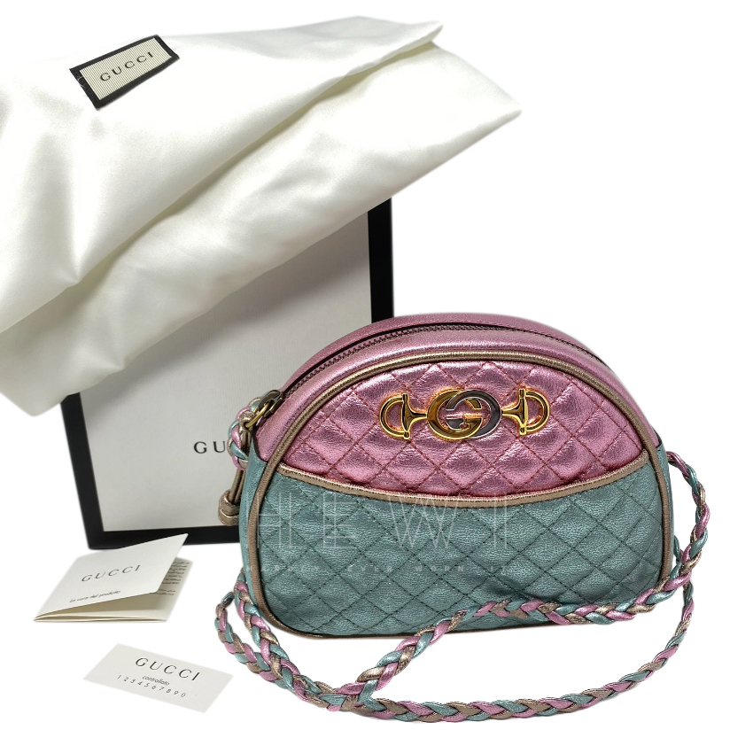 Gucci pink & blue Laminated leather mini bag