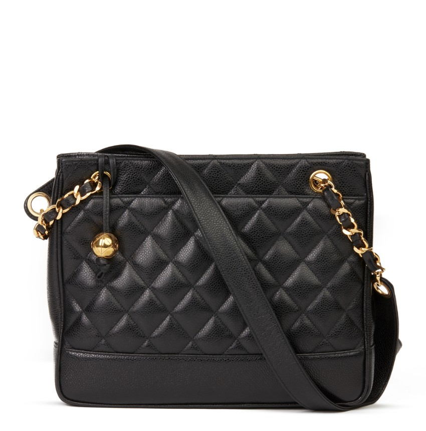 Chanel Vintage Black Quilted Caviar Leather Vintage Medium bag