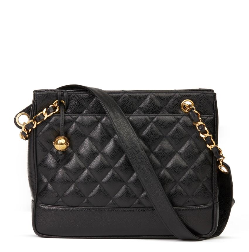 Chanel Vintage Black Quilted Caviar Leather Vintage Medium bag