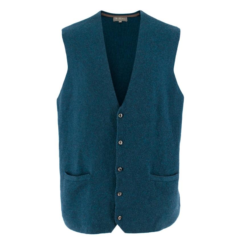 N. Peal Blue Button-Up Cashmere Vest