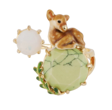 Les Nereides Fawn and Green Marble Stone Adjustable Ring