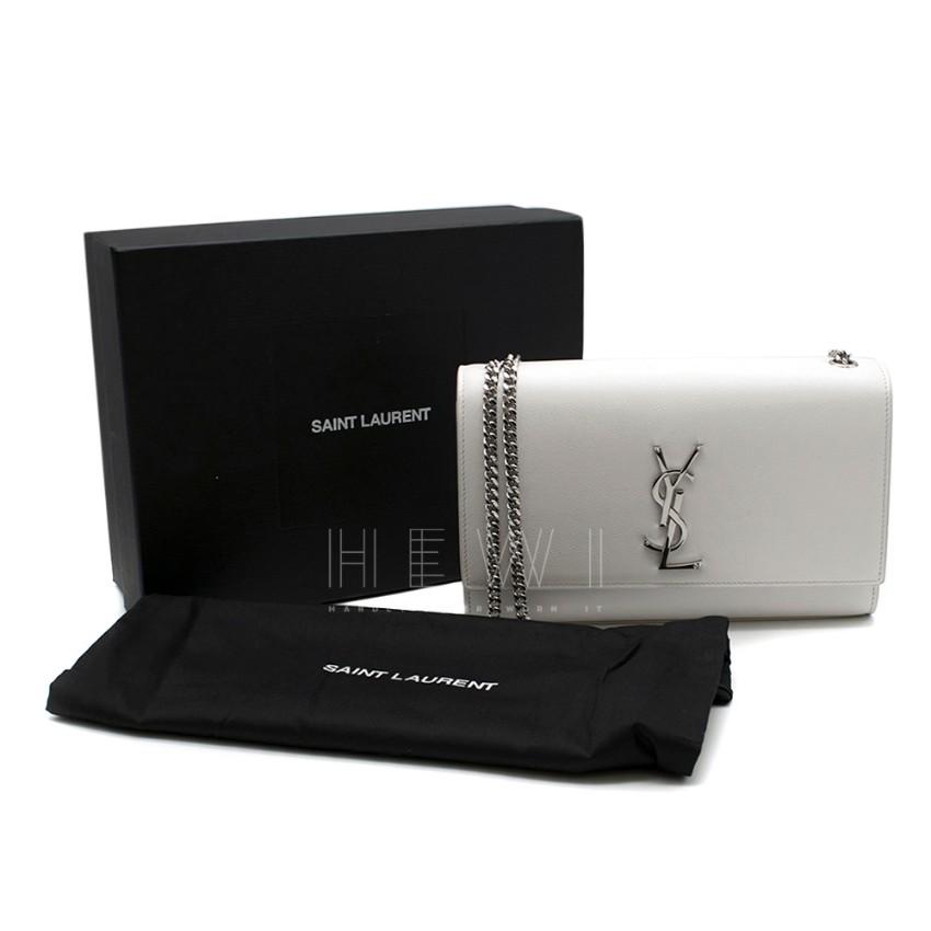 Saint Laurent Medium Grain De Poudre Off White Kate Crossbody Bag