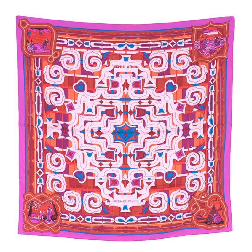 Hermes Esprit Ainou Pink, Red & Purple Silk Scarf 90