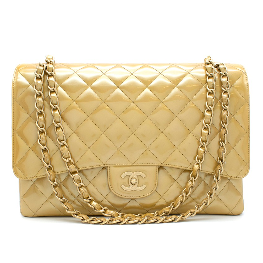 Chanel Gold Patent Leather Maxi Flap Bag
