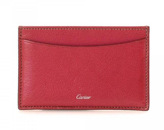 Cartier Red Goatskin Leather Card Holder