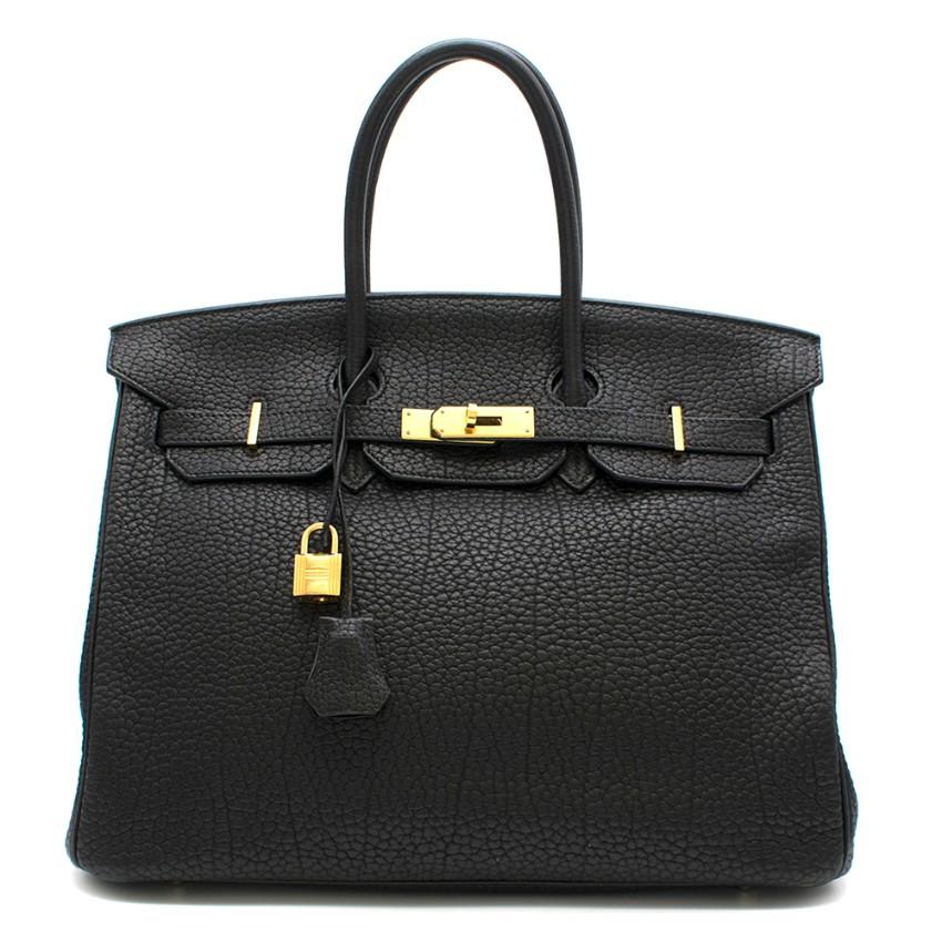Hermes Black Clemence Leather 35cm Birkin