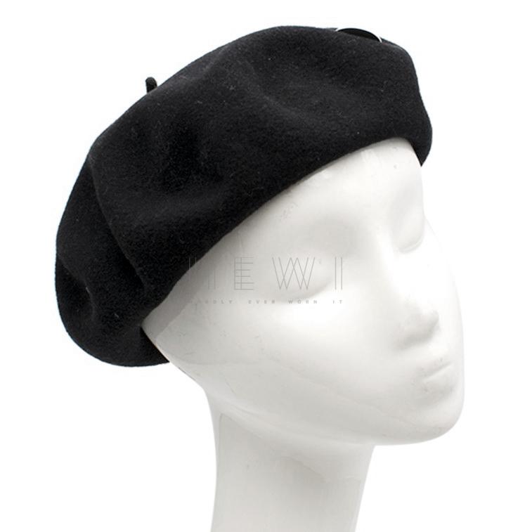 Saint Laurent Black Wool Je Te Quitte Beret