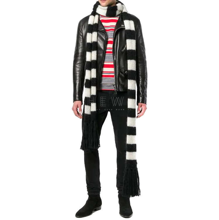 Saint Laurent Extra Long Striped Black & White Knit Scarf