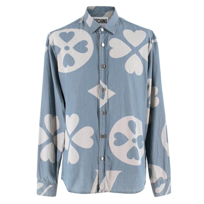 Moschino Couture Heart Print Chambray Shirt