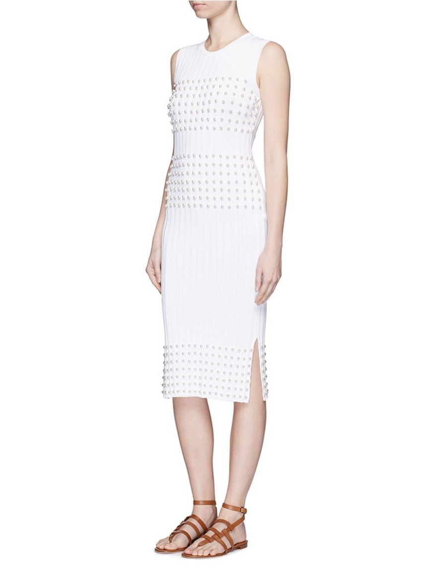 Emilio Pucci optic white rib knit dress