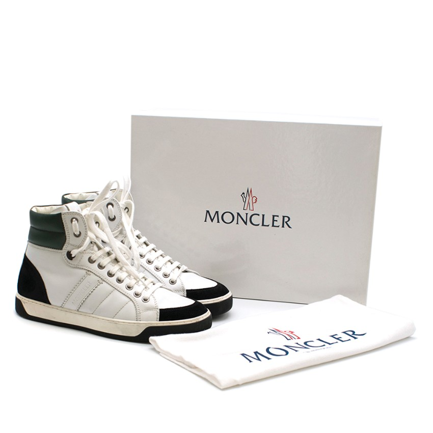 Moncler Black White Leather Suede High