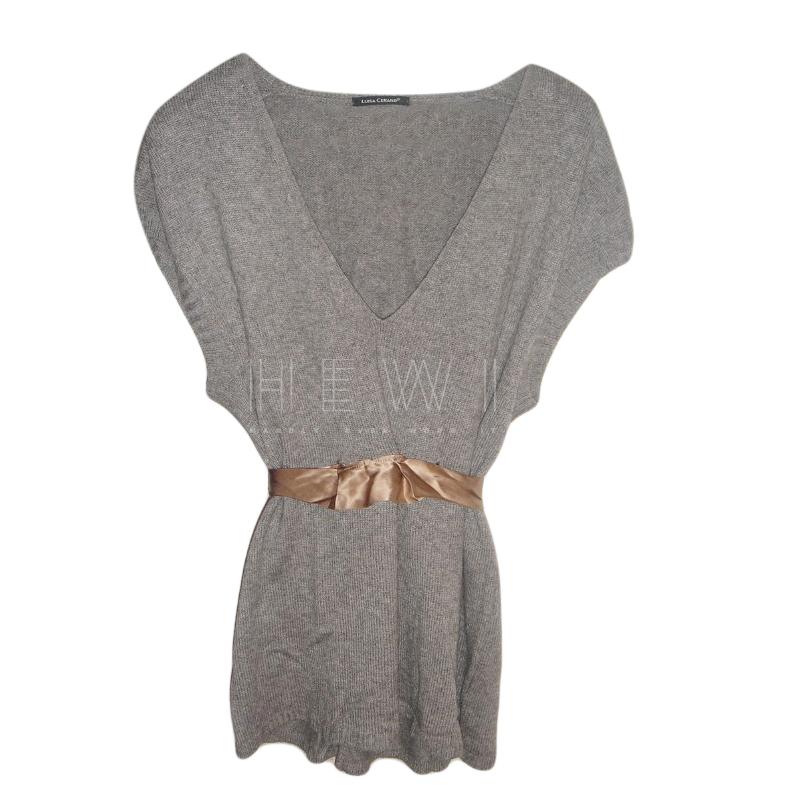 Luisa Cerano Grey Waist Tie Top