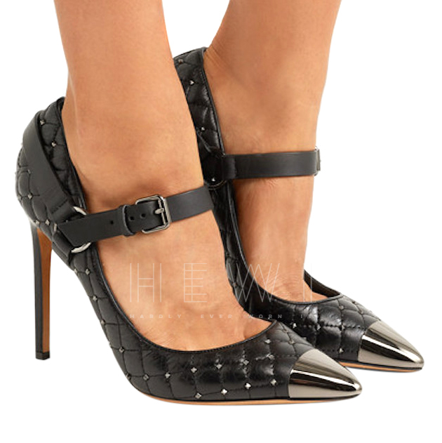 Valentino Quilted Rockstud Mary Jane Pumps