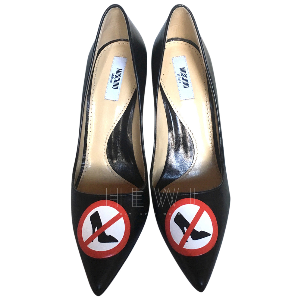 Moschino Couture Black Leather Warning Sign Pumps