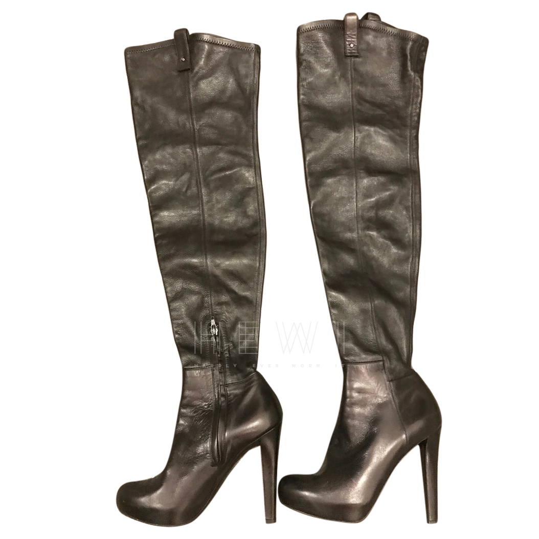 Ermanno Scervino Black Leather OTK Boots
