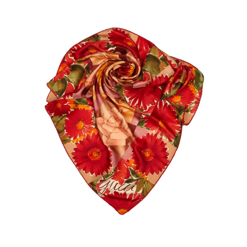 Gucci Red Floral Silk Scarf