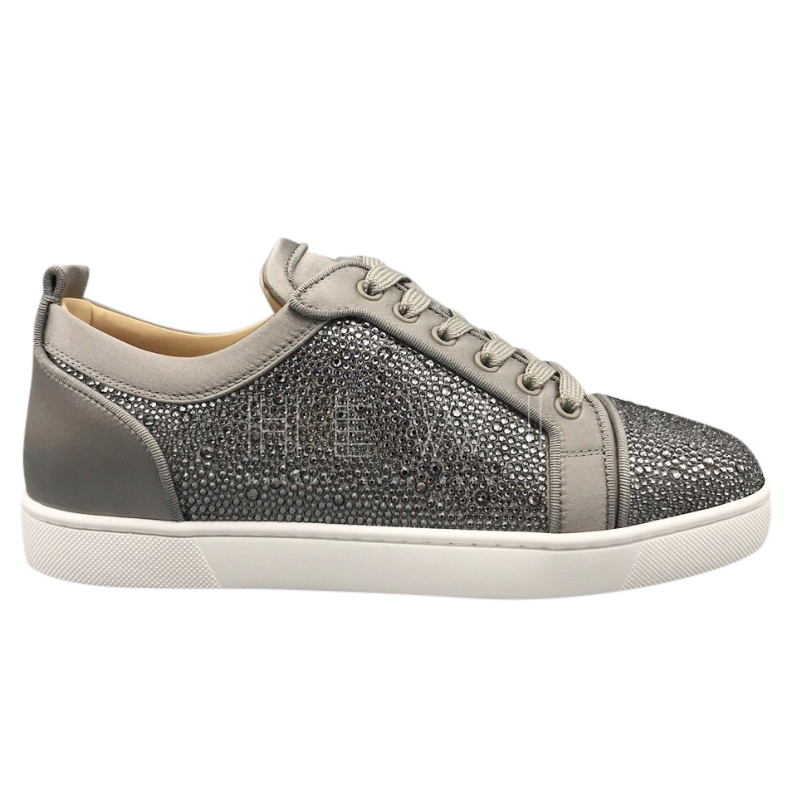 Christian Louboutin Suede Sequin Embellished Junior Strass Sneakers