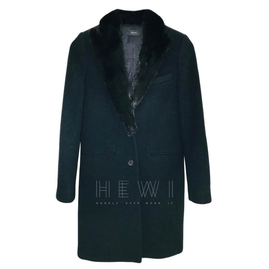 Joseph Mink Fur Trim Wool & Cashmere Coat