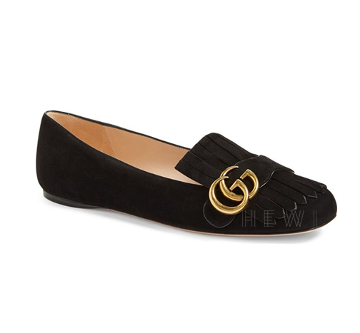 Gucci Black Marmont Suede Flats