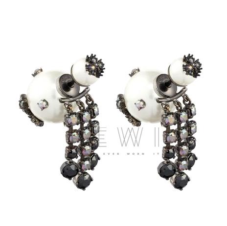 Dior Black Crystal Embellished Tribales Earrings