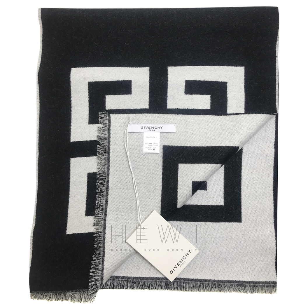 Givenchy Monochrome wool & silk logo print scarf