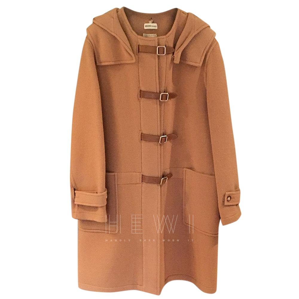 Hermes tan wool & cashmere duffle coat