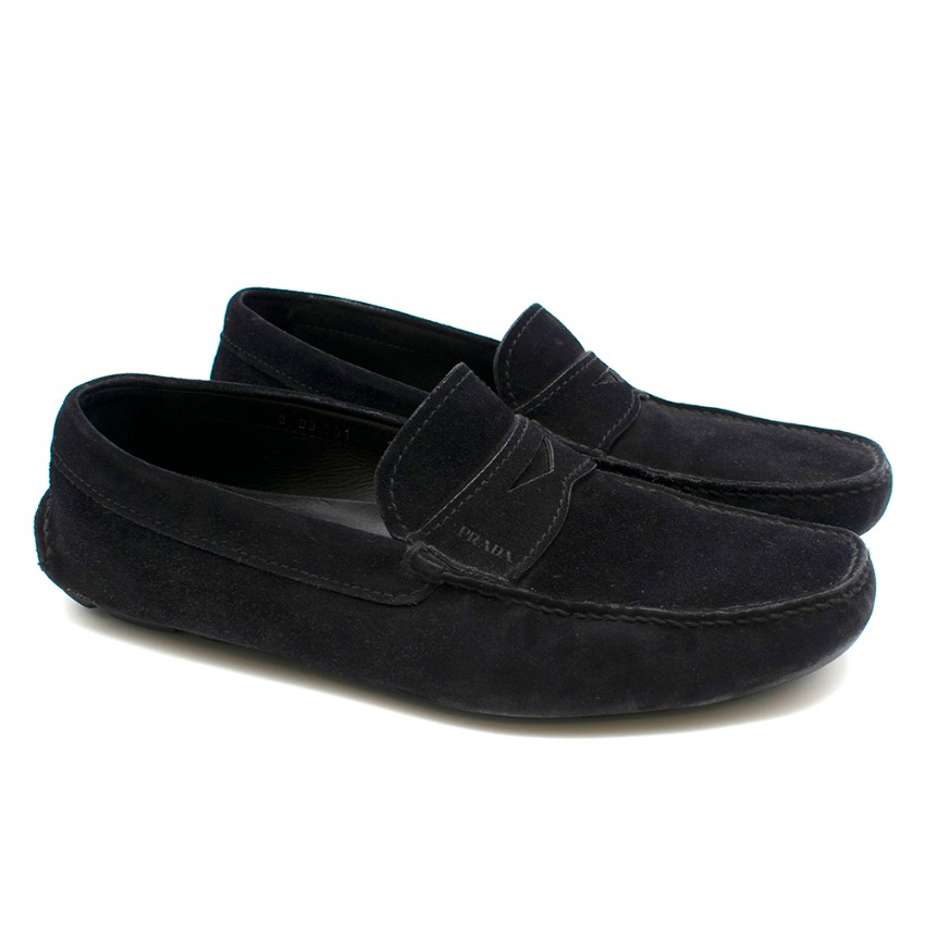 Prada Black Suede Men's Driving Loafers