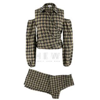 Ganni Charron Plaid Trousers & Cold Shoulder Top