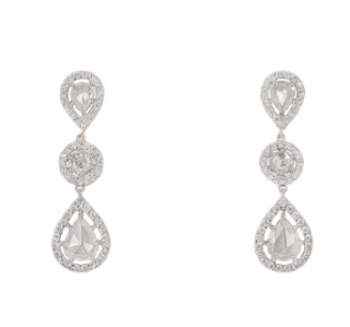 Bespoke 18k White Gold Diamond Drop Earrings