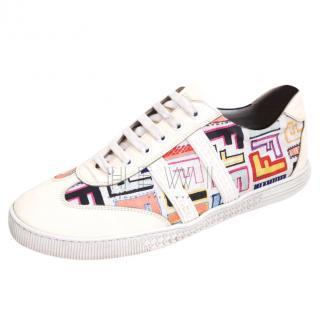 Fendi Ivory Printed FF Sneakers