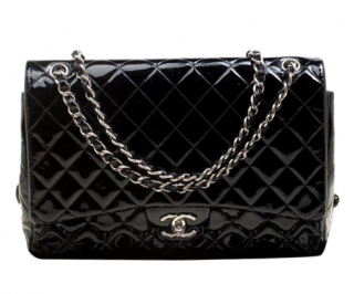 Chanel Black Quilted Patent Leather Maxi Double Flap Bag