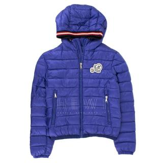 Moncler Kids Xaviere Blue Pure Goose Down Jacket