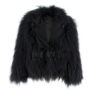 Diane Von Furstenberg black short shearling jacket