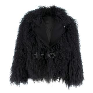 Diane Von Furstenberg black short shearling jacket
