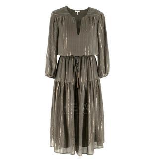 Joie Khaki and Gold Metallic Striped Bohemian Dress