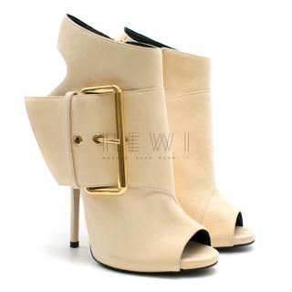 Giuseppe Zanotti Ecru Open-Toe Side-Buckle Booties