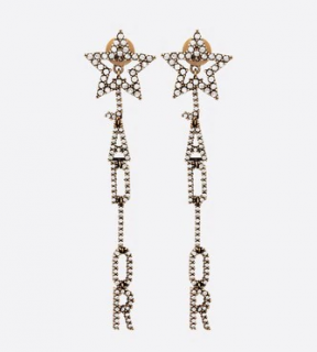 Dior Crystal J'adior Star Drop Earrings