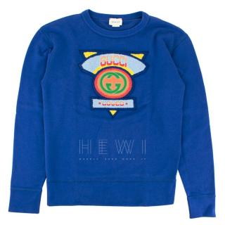 Gucci Kids Blue Logo Embroidered Sweater