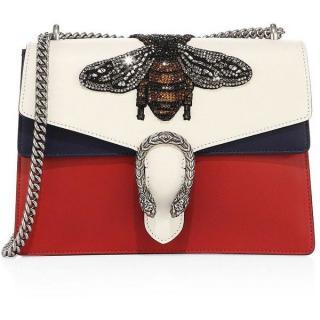 Gucci Large Dionysus Bee-Embroidered Leather Shoulder Bag