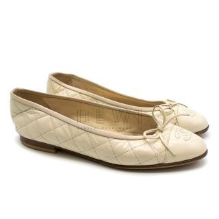 Chanel Beige Quilted Ballerina Flats