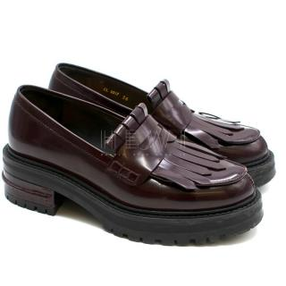Christian Dior Burgundy Patent Leather Heel Fringe Loafers