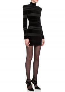 Balmain Striped Velvet Mini Dress