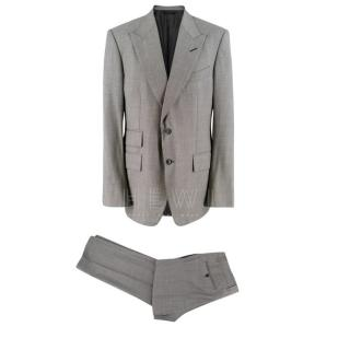 Tom Ford Grey Wool Single Breasted Printed Suit