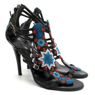 Giuseppe Zanotti x Balmain Beaded T-strap Sandals