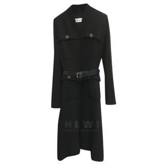 Christian Dior Black Belted Wool Coat