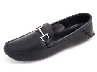 Bally Black Grained Leather Loafers
