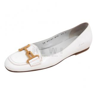 Salvatore Ferragamo White Gancio Leather Loafers