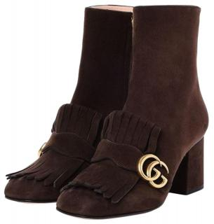 Gucci Brown Marmont GG Suede Fringe Ankle Boots