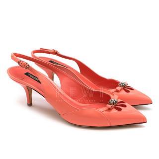 Dolce & Gabbana Coral Embellished Slingback Pumps