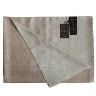 Gucci Monogram Silk & Wool Beige Scarf
